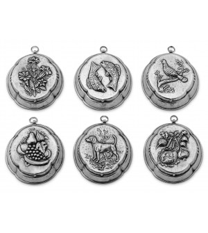 Pewter decorative jelly moulds, set of six h cm 12