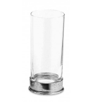 Pewter & glass soft drink glass h cm 15