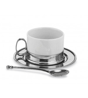 Pewter and ceramic tea cup&saucer w/spoon