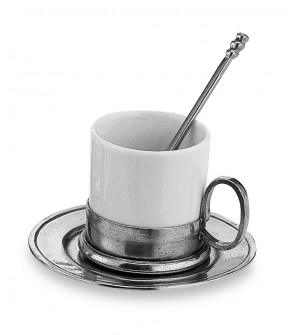 Pewter and ceramic coffee cup&saucer w/spoon