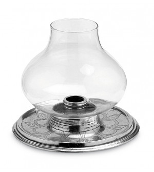 Pewter & glass hurricane lamp ø cm 15,5 h cm 14