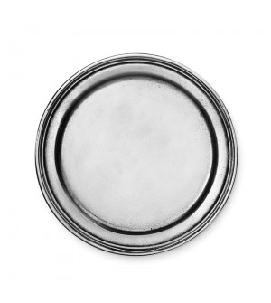 Pewter rimmed medium coaster ø cm 12