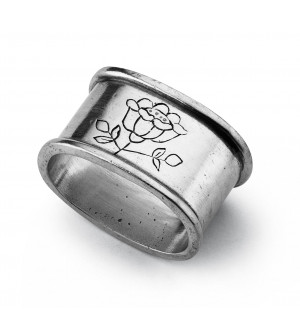 Pewter oval engraved napkin ring cm 5