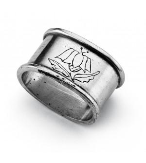 Pewter oval engraved napkin ring cm 5