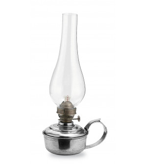 Pewter oil lamp h cm 26