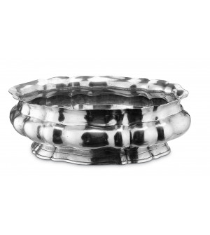Pewter oval scalloped footed bowl cm 43x26,5 h 14