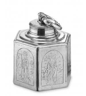 Pewter six-sided bottle with screw top lid h cm 16