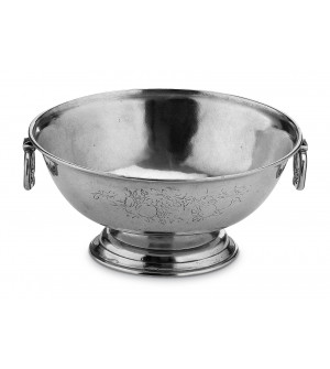 Pewter footed bowl with handles ø 29 h 13,5 cm