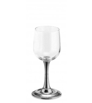 Pewter & glass water/red wine glass h cm 17,5