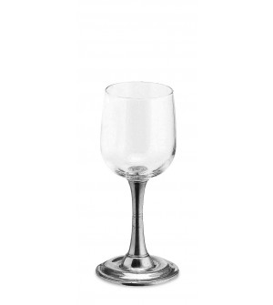 Pewter & glass white wine glass h cm 17