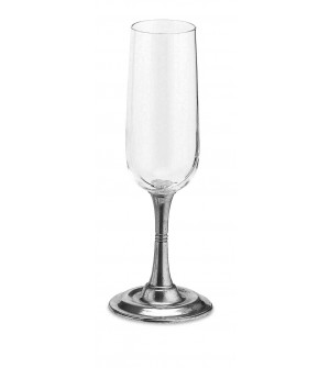 Pewter & glass champagne flute h cm 21