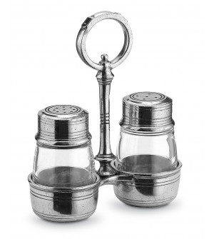 Pewter salt & pepper with caddy h cm 15