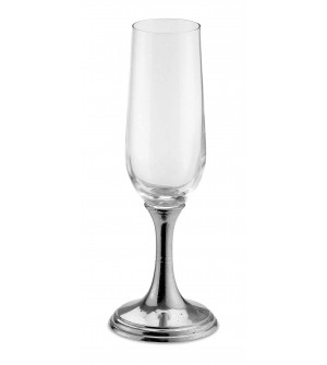 Pewter & glass champagne flute h cm 22 - 19 cl