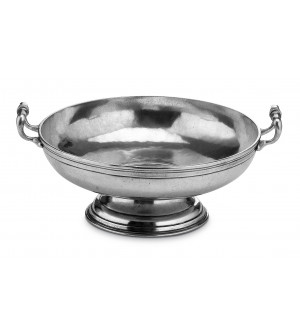 Pewter footed bowl with handles ø cm 32