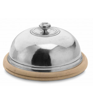 Wooden cheese board with pewter dome ø cm 30