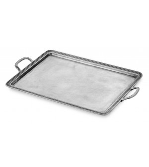 Pewter rectangular medium tray w/handles cm 24x34