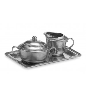 Pewter creamer & sugar with tray cm 16x25
