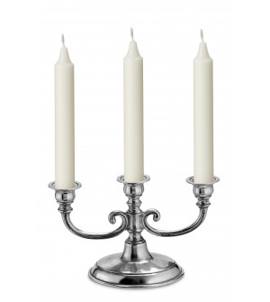 Pewter 3-light candelabra h 14 cm