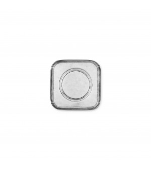 Pewter square wine bottle coaster cm 11,5x11,5