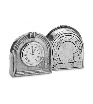 Pewter small clock cm 6x6