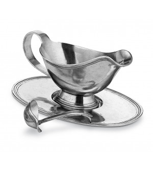 Pewter sauce boat with tray & ladle cm 9x24 - h cm 8