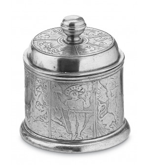 Pewter embossed canister h cm 15 ø 12