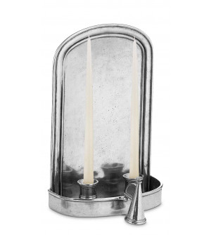 Pewter wall mount candle holder cm 17x28