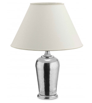 Pewter lamp h cm 53 w/shade ø 40