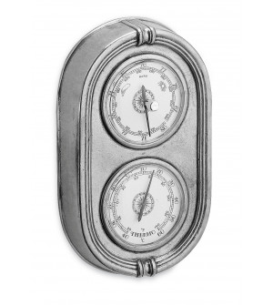 Pewter baro/thermometer cm 12,5x21h