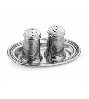 Pewter salt & pepper shaker w/tray cm 8x12 h cm 5