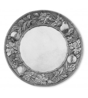 Pewter round plate, embossed rim ø cm 37