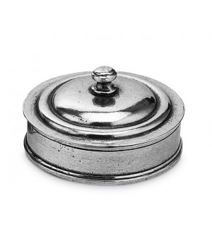 Pewter round trinket box
