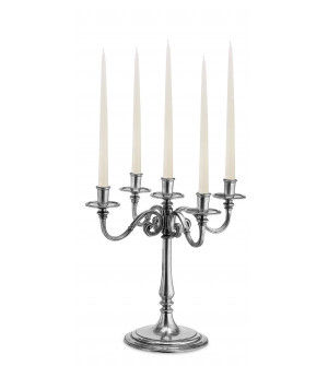 Pewter 5-light candelabra h cm 42,5