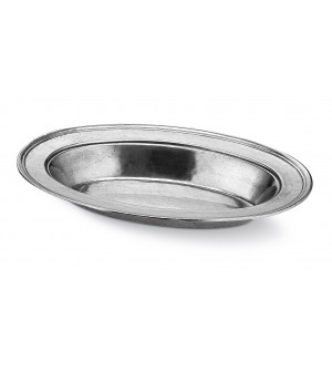 Pewter oval bowl with wide rim cm 23x34 h 4,5