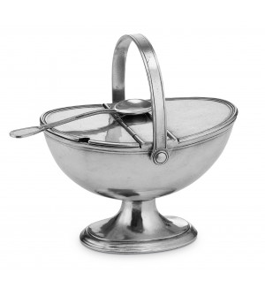 Pewter large sugar bowl with handle cm 14x22x23h