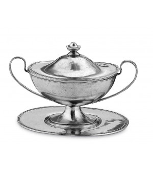 Pewter sauce tureen w/tray cm 14x32 h cm 21