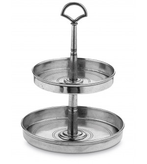 Pewter two-tiered stand h cm 36