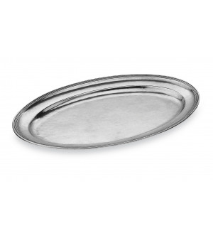 Pewter oval serving platter cm 23,5x36