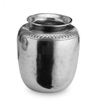 Pewter vase with decorative motif cm 10x12