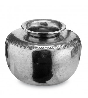 Pewter vase with decorative motif cm 13x18