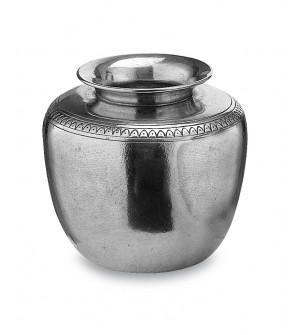 Pewter vase with decorative motif cm 12,5x13