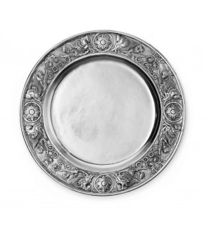 Pewter plate with embossed rim ø cm 48