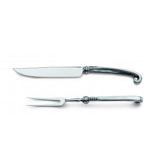 Pewter and stainless steel carving set cm 30