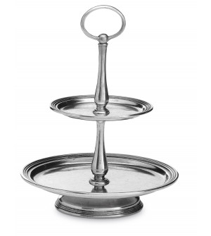 Pewter two tiers petit fours stand h cm 24