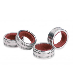 Pewter wine bottle drip ring collar - set of four