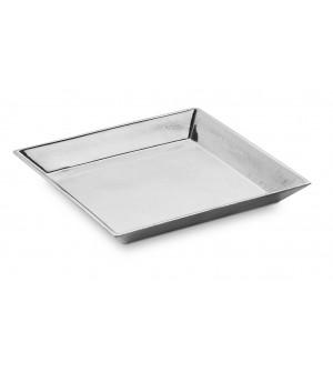 Pewter square dish cm 20x20 h 2,3