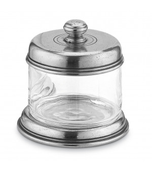 Pewter and glass storage jar h cm 10 ø cm 10,5
