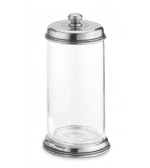 Pewter and glass storage jar h cm 22 ø cm 10,5