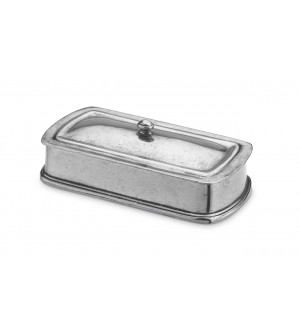 Pewter rectangular lidded box cm 9x17 h 3,5