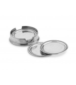 Pewter round coasters with caddy cm 10,5 - set of 6